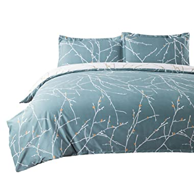 Bedsure Duvet Cover Set with Zipper Closure-Teal/White Printed Branch Pattern Reversible,Full/Queen (90 x90 )-3 Piece (1 Duvet Cover + 2 Pillow Shams)-110 GSM Ultra Soft Hypoallergenic Microfiber