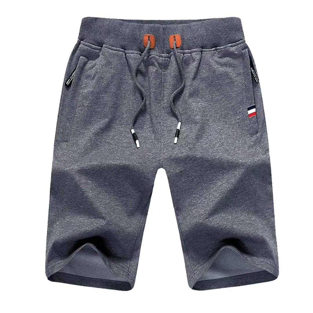 Tansozer Men's Shorts Casual Classic Fit Cotton Jogger Gym Shorts Elastic Waist Zipper Pockets (Dark Gray, 5XL)