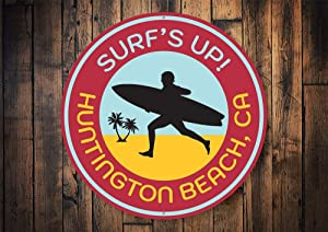 Surfs Up Sign, Custom Surfing Sign, Surfs Up Decor, Surfer Signs, Metal Surfing, Ocean Waves, Ocean Signs, Metal Signs, Round - Metal Sign, Aluminum Tin Plaque Wall Art Poster 12