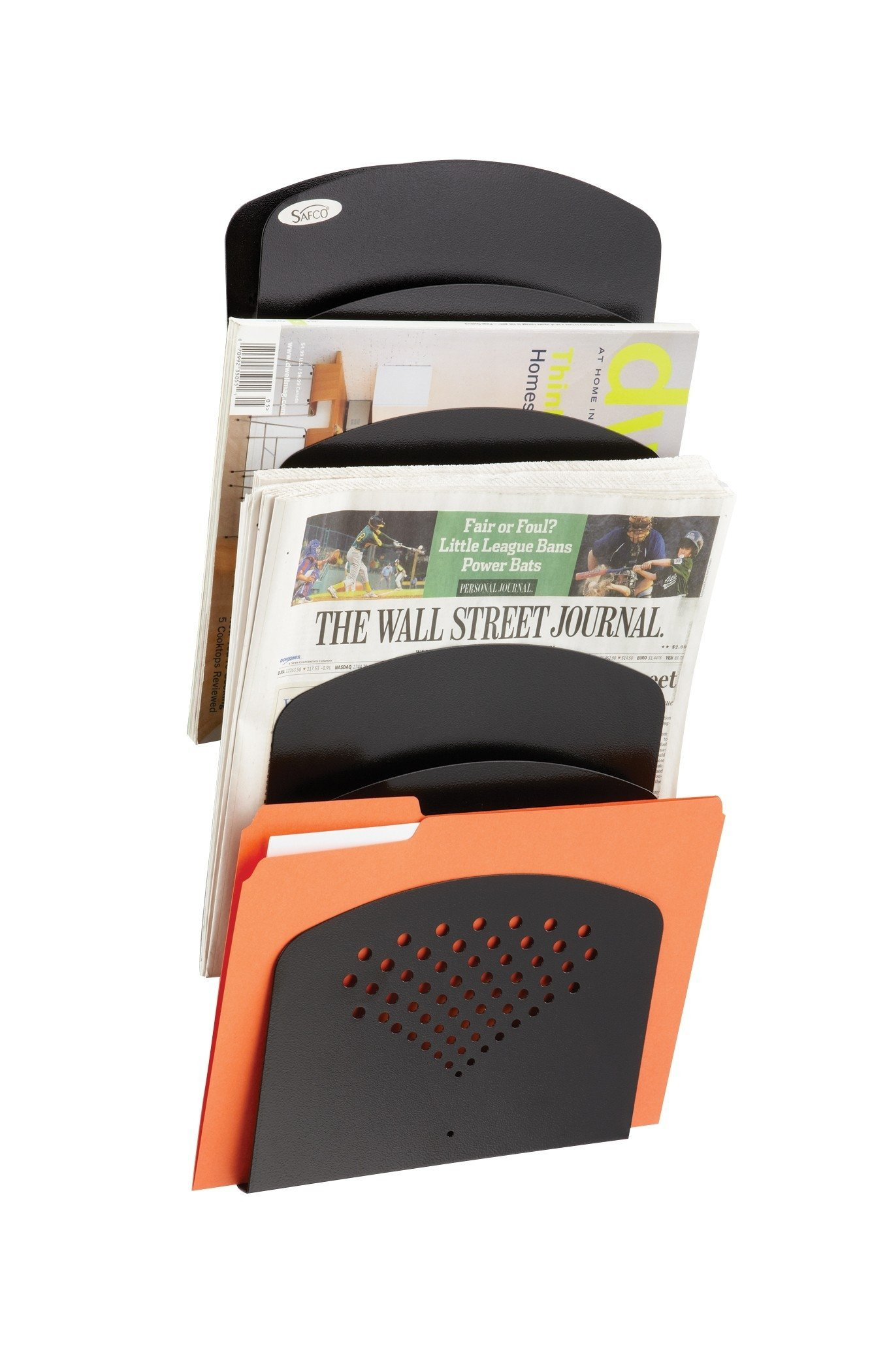 Safco Products Steel Seven Pocket Letter/Legal Wall Rack 3185BL, Black Powder Coat Finish, Durable Commercial-Steel Construction by Safco Products