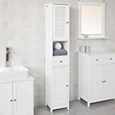 Haotian White Floor Standing Tall Bathroom Storage Cabinet With Shelves And  Drawers,Linen Tower Bath