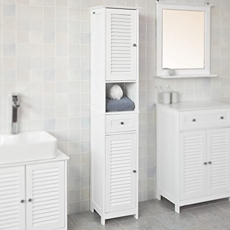 Haotian White Floor Standing Tall Bathroom Storage Cabinet With Shelves And Drawers Linen Tower Bath Cabinet Cabinet With Shelf FRG236 W