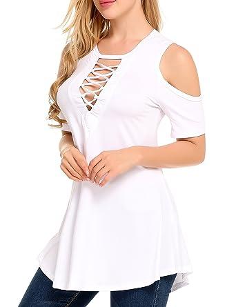 63b2ec6d9ecc96 Zeagoo Women s Cold Shoulder Lace Up V Neck Tunic Tops Sexy ...