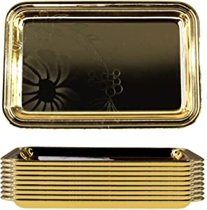 Maro Megastore (Pack of 10) 7 inch x 4.7 inch Rectangular Iron Gold Plated Mirror Serving Tray Floral Engraved Decorative Party Birthday Wedding Buffet Wine Decor Platter Plate Base Dish CC-1155