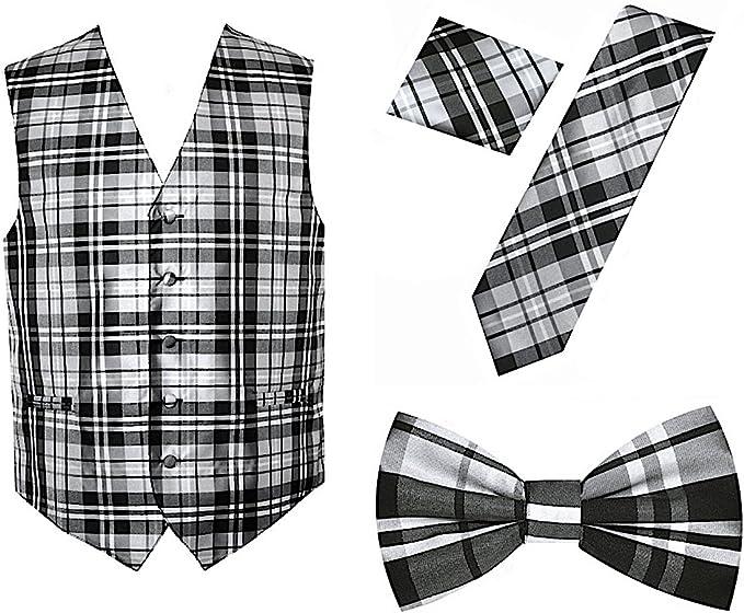 Amazon.com: 4 piezas de diseño a cuadros vestido chaleco ...
