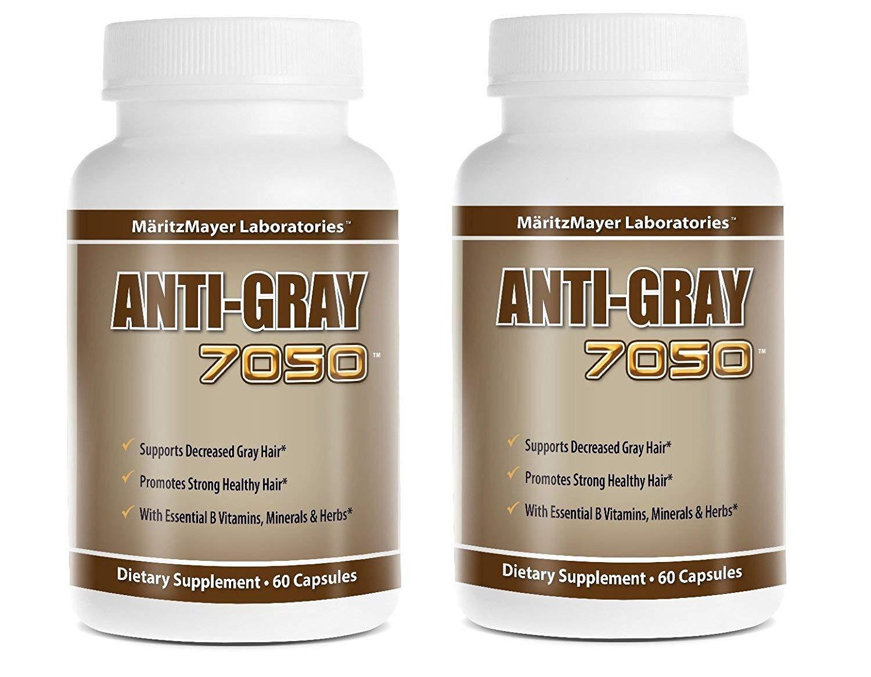 Anti-Gray Hair 7050 Restore Natural Hair Color 60 Capsule Per Bottle, 2 pack