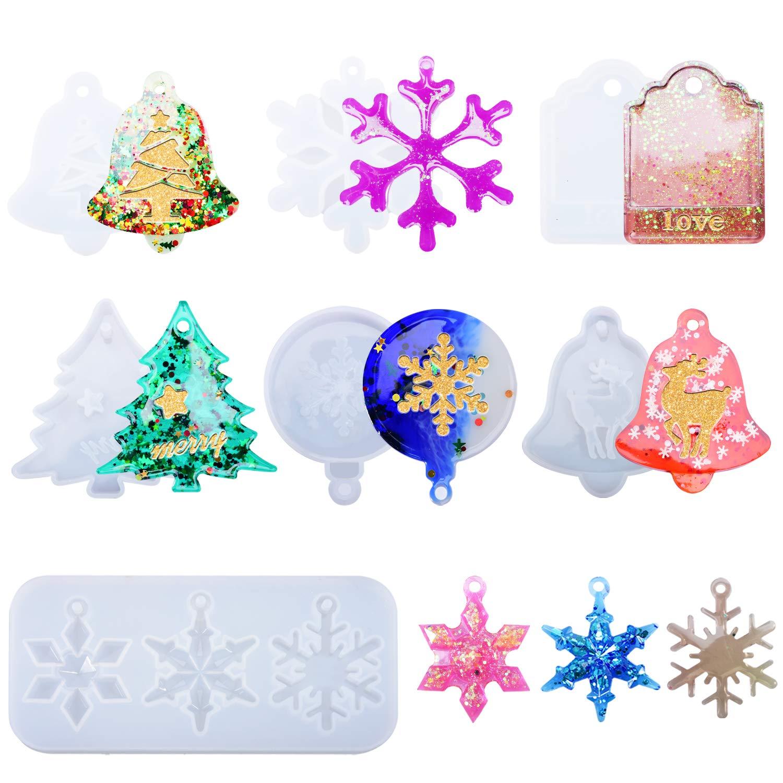 7 moldes para resina epoxy con motivos navideños
