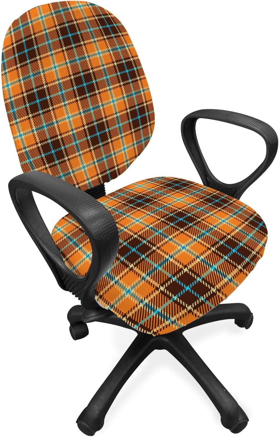 Ambesonne Brown Plaid Office Chair Slipcover, Tartan Style Streaks in Earth Tones, Protective Stretch Decorative Fabric Cover, Orange Brown Sky Blue