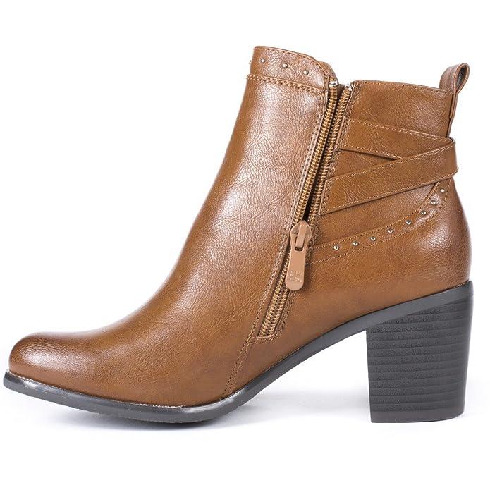 Chaussures à bout rond à fermeture éclair marron femme vui1nIY3