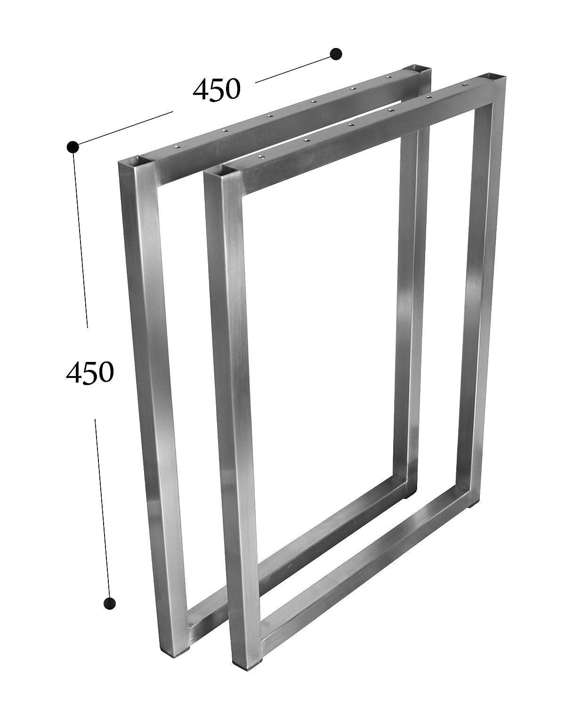 Couchtisch Tischkufe Tischgestell Edelstahl 201 20x20 Rahmentisch Kufengestell Tischuntergestell (Breite 45 cm x Höhe 45 cm)