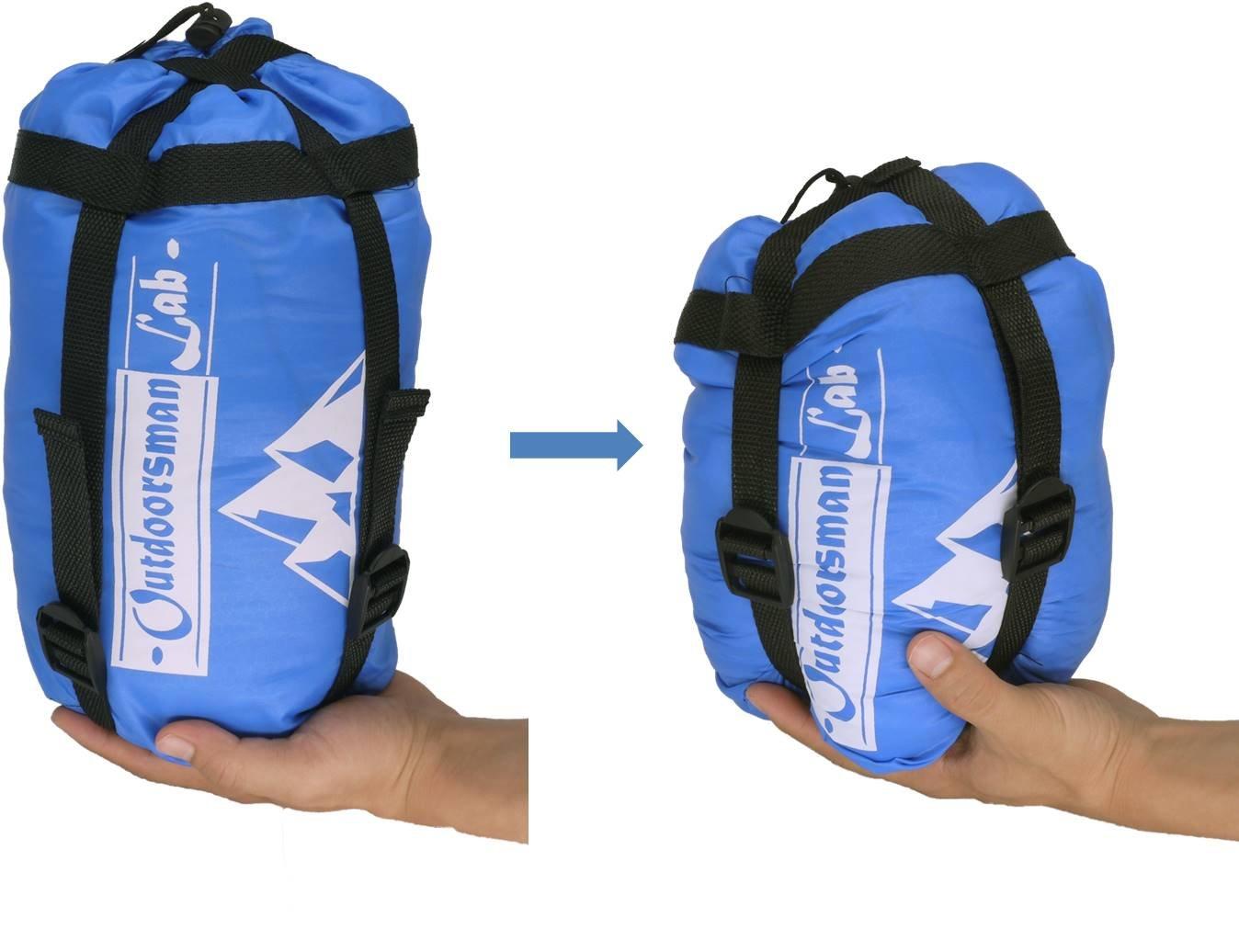 Saco de dormir ligero de OutdoorsmanLab para acampada, senderismo, viajes, verano, compacto, plegable, con bolsa de compresión, funda de almohada, ...