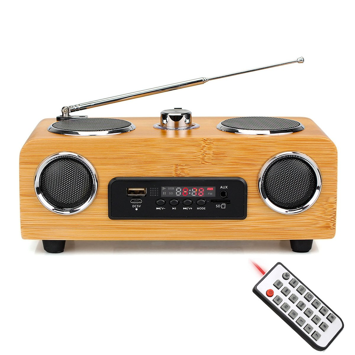 TIVDIO Portable FM Stereo Transistor Radio Support Micro USB Card AUX audio input MP3 Player Speaker with Handmade Bamboo Multimedia Speaker Classical Remote Control