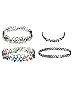 Michelangelo Simple Beaded Multicolor Pearl Tattoo Chokers Fancy Chokers For Women And Girls