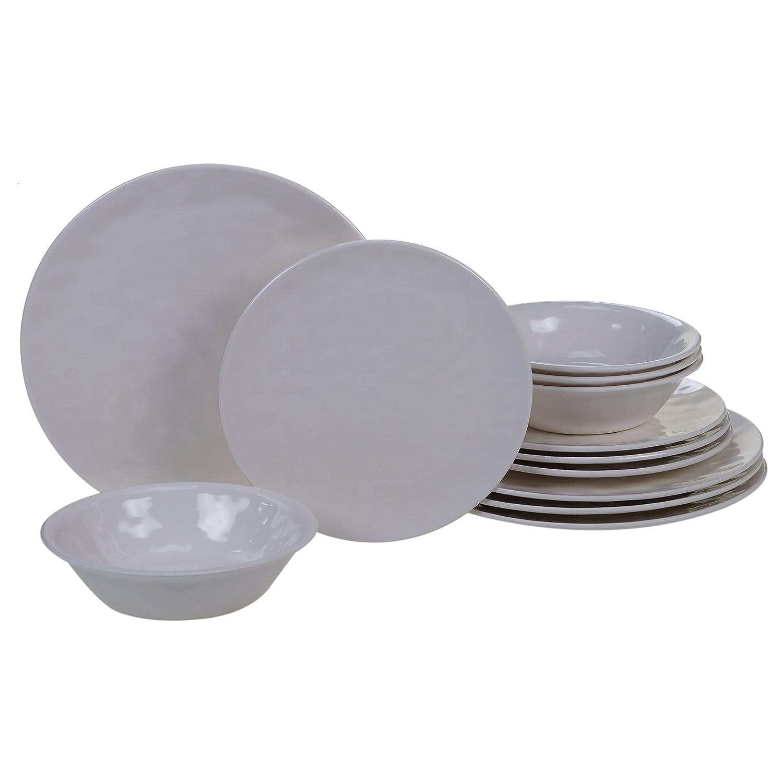 Certified International 89212RM Melamine 12 pc Dinnerware Set Service for 4 Red
