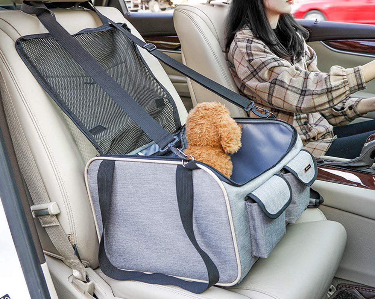 Petemoo Hunde Autositz Für Kleine Mittlere Hunde Und Katzen Atmungsaktive Wasserdichte Sitzbezug Mit Sicherheitsleine Kleine Hundewelpe Reise Auto Beschützer Tragetasche Haustier