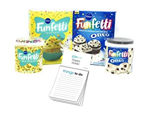 Pillsbury Easter Funfetti Oreo Cake Mix Kit! 1 Spring Cake Mix With Candy Bits  1x Vanilla Frosting  1 Pillsbury Funfetti Oreo Chocolate Cake Mix & Pillsbury Oreo Frosting  1x Happy Home 50 Page Magnetic Things to do Notepad