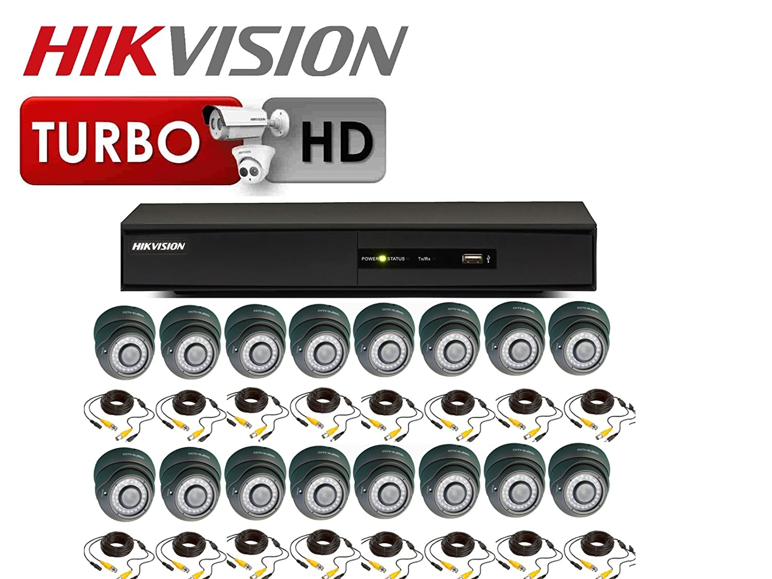 1080 P HD TVI Kit de circuito cerrado Hikvision ds-7216hqhi-f2/N Turbo DVR 16 x Cámaras Domo 2,8 - 12 mm Varifocal Lente 30 M IR: Amazon.es: Bricolaje y ...