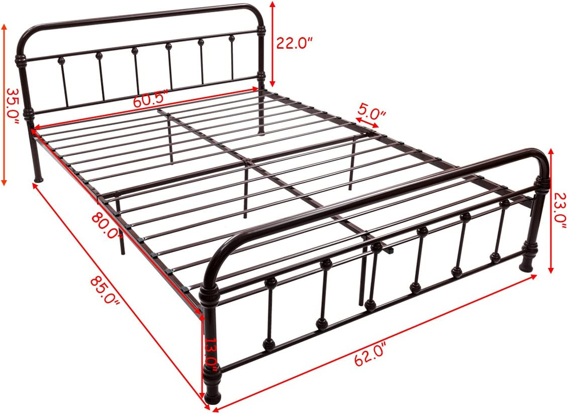 Steel Slat and 9-Leg Support for Mattress Foundation Black Giantex Queen Size Platform Bed Frame Metal Bed Frame with Headboard /& Footboard Box Spring Replacement Home Bedroom Furniture