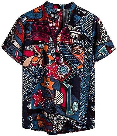 Camisa Hawaiana Hombre Camisa de Manga Corta Impresa para Hombre Camisa para Hombre Camisas Casual para Hombre Camisa Verano Hombre Slim fit Moda Retro Camisa Cuello Henry Verano: Amazon.es: Ropa y accesorios