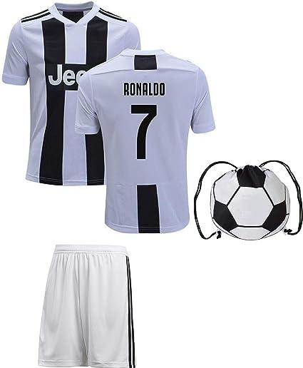 Cristiano Ronaldo Juventus #7 Youth Soccer Jersey Away Short Sleeve Shorts Kit Kids Gift Set