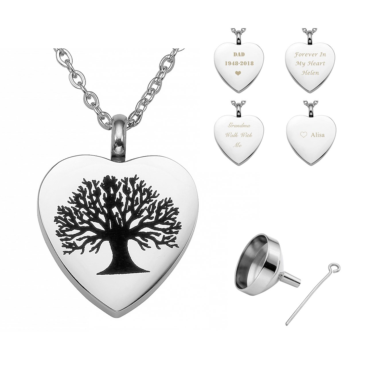 PiercingJ Personalized Custom Stainless Steel Urn Memorial Pendant Heart Shape Life Tree Necklace Memorial Ash Keepsake Cremation Jewelry Funnel Fill Kit Adjustable Extender Chain