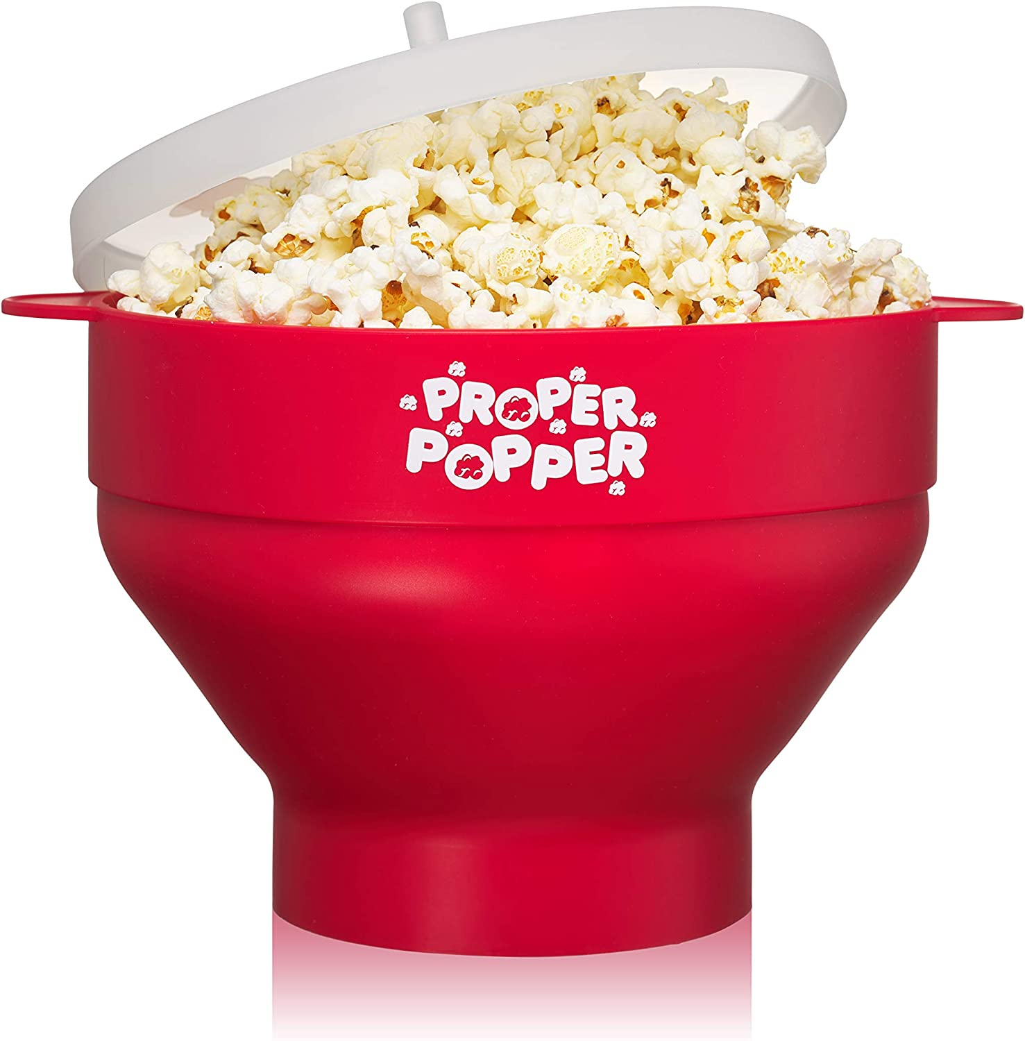 The Original Proper Popper Microwave Popcorn Popper, Silicone Popcorn Maker, Collapsible Bowl BPA Free & Dishwasher Safe - (Red)