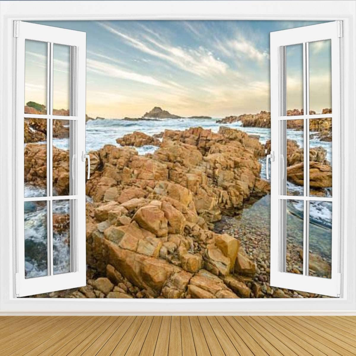 KEIRUNNRUGS Creative Window Wall Sticker Wall Mural Knysna Heads Rocks Garden Route South Africa Self Adhesive Removable Wall Decal Posters Wall Art Decor for Living Room 100x144inch