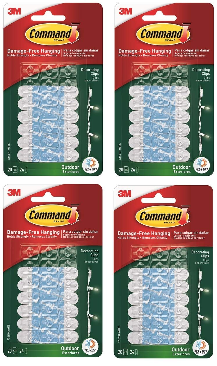 3M Command Outdoor Clear Decorating Clips Water Resistant - 80 Clips by Command EU