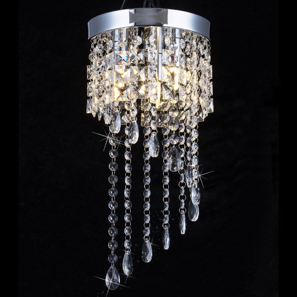 3 Light Mini Crystal Chandelier, Modern Flush Mount Ceiling Light, Raindrop Chandelier Lighting Fixture for Dining Room, Bedroom, Stairwells, Banquet Hall, W7.9 X H15.7