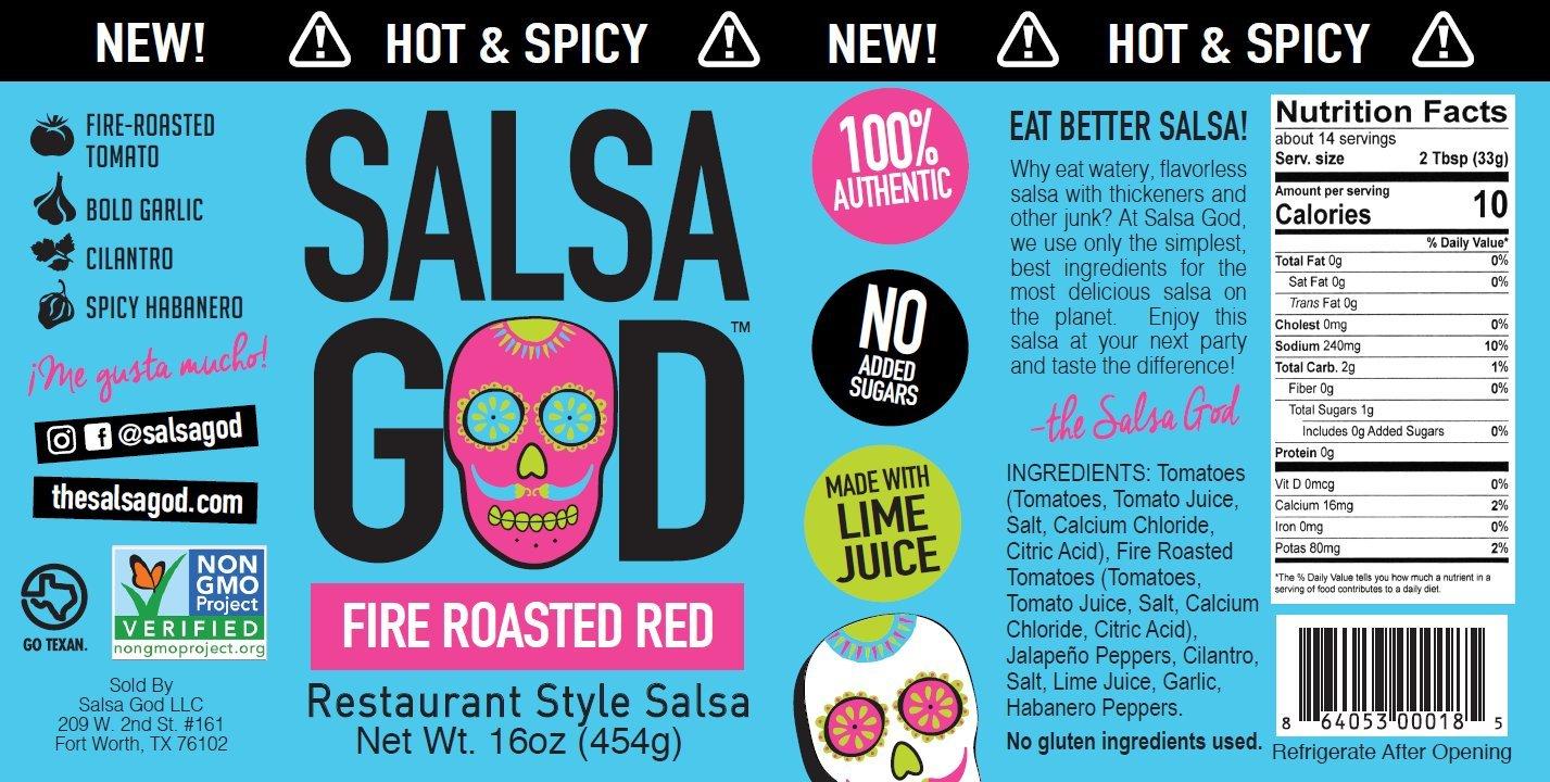 Salsa God Salsa Hot Fire Roasted Red 16.0 OZ(Pack of 3) by Salsa God