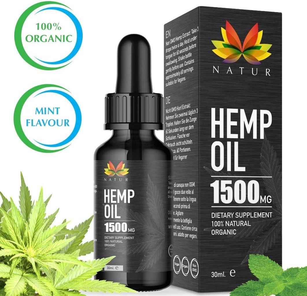 Aceite de Cáñamo | El Extracto de Cáñamo Natur Apoya un Estilo de Vida Saludable | Extracción de CO2 | Hemp Oil |1500mg, Botella de 30ml