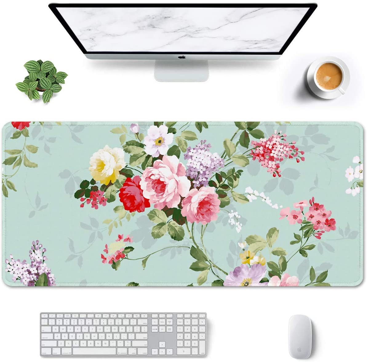 """Auhoahsil Large Mouse Pad, Full Desk XXL Extended Gaming Mouse Pad 35"""" X 15"""", Waterproof Desktop Mat with Stitched Edge, Non-Slip Laptop Computer Keyboard Mousepad for Office & Home, Flowers Design"""