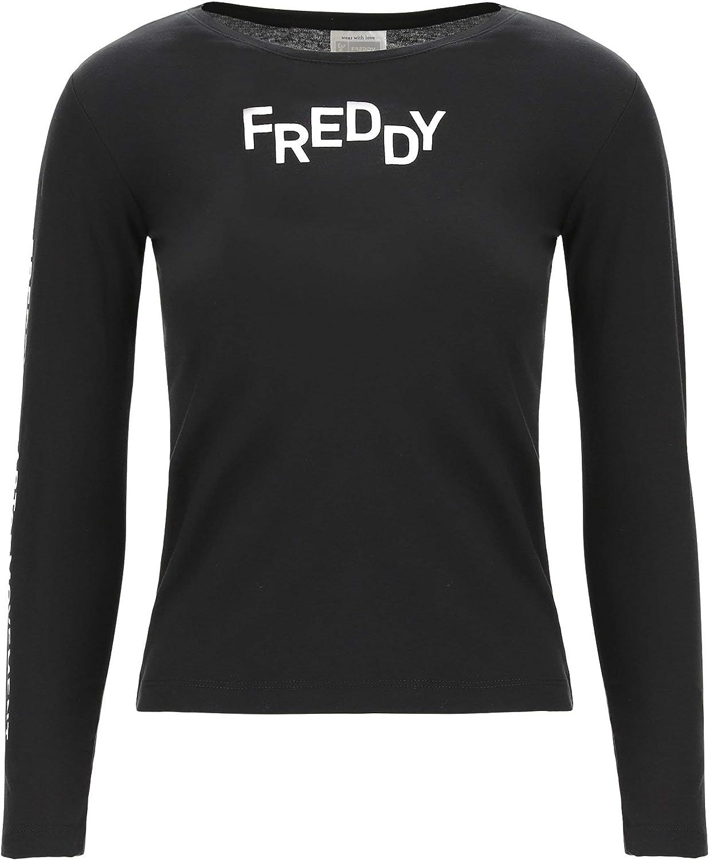 FREDDY T-Shirt a Manica Lunga in Cotone Nero con Stampe Bianche