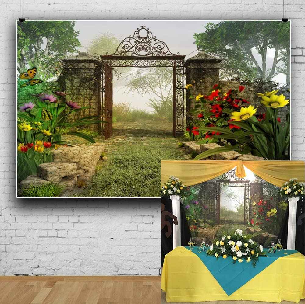 Laeacco 10x6.5ft Fairy Tale Riverside Tranquil Secret Garden Scenic Background Romantic Wedding Photo Backdrop Blooming Flower Flying Butterflies Opened Gate Faint Fog Children Adult Shoot Studio Prop