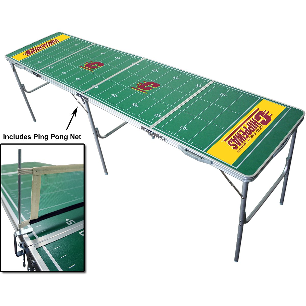 NCAA College Central Michigan Chippewas Tailgate Ping Pong Table With Net