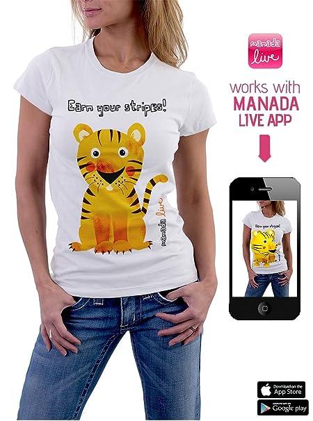 MANADA – Camiseta S de Tigre para Mujer con Realidad Aumentada en 3D