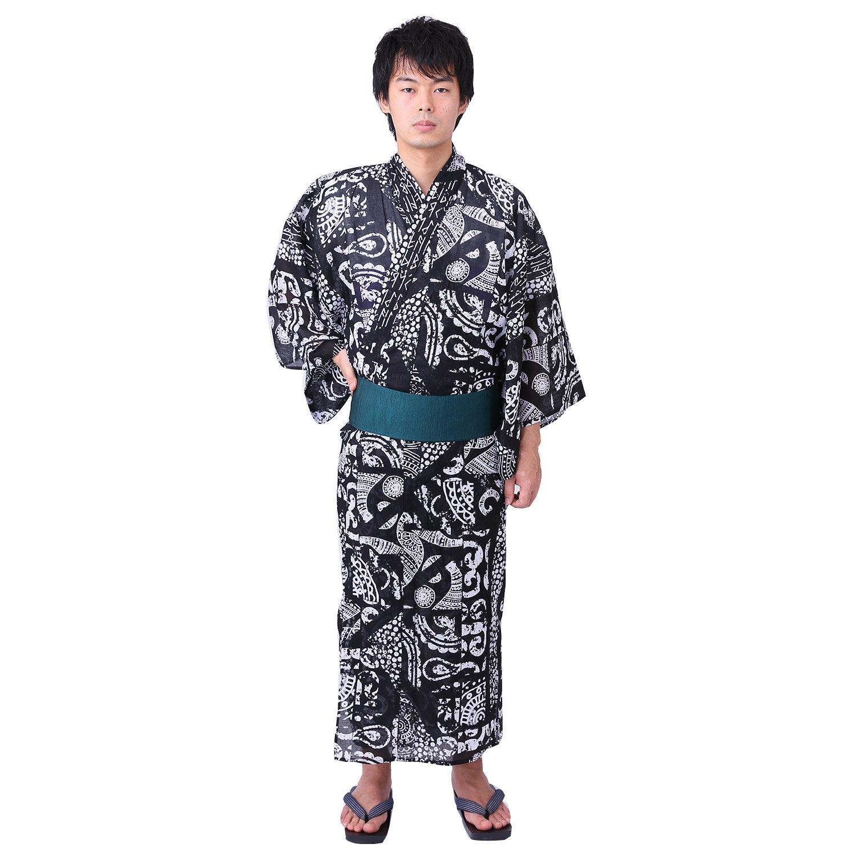 YOKAYOKA メンズ 浴衣 単品 B07D541G6R M|モノトーン モノトーン M