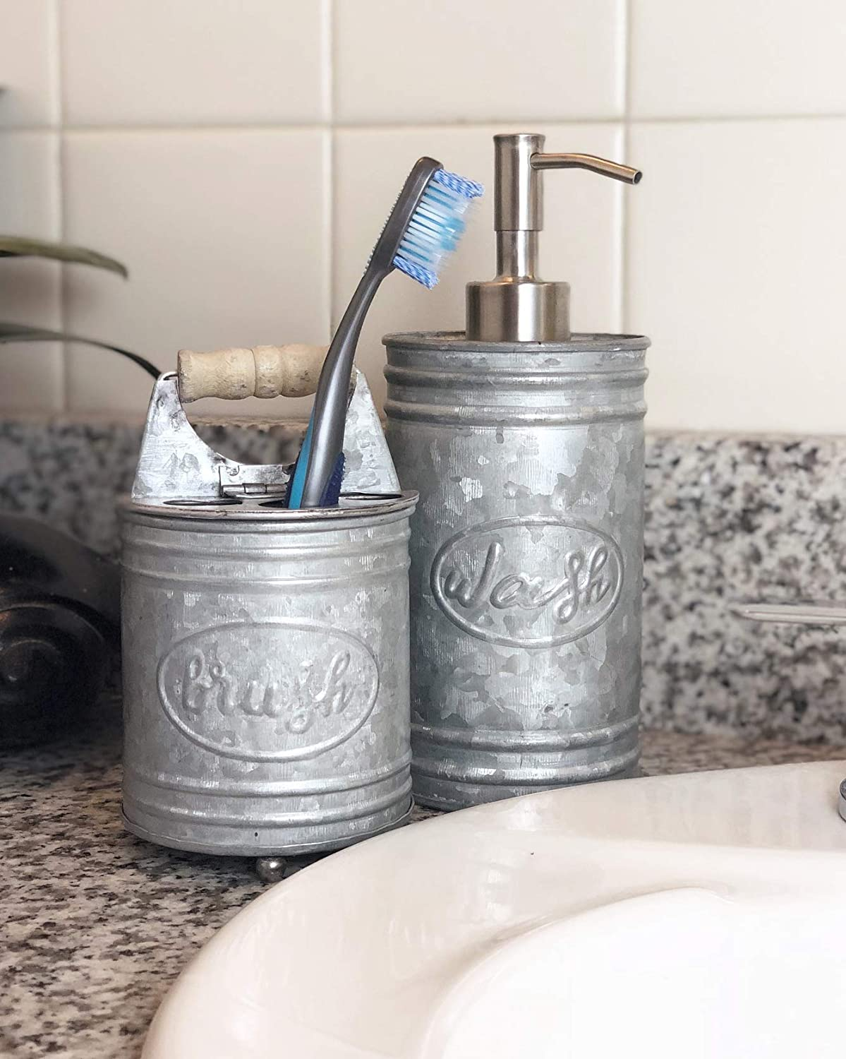 24 oz Warm Finish and Oval Label add Farmhouse Charm to Your Countertop Autumn Alley Galvanized Soap Dispenser Capacity