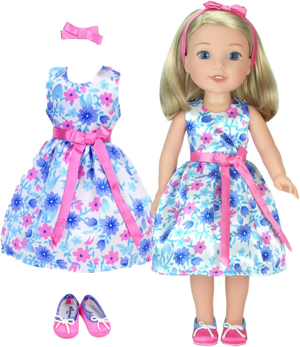 """Love Print Dress Hat w//2 Bows 18/"""" Doll Clothes Fits American Girl Bows,Hearts"""