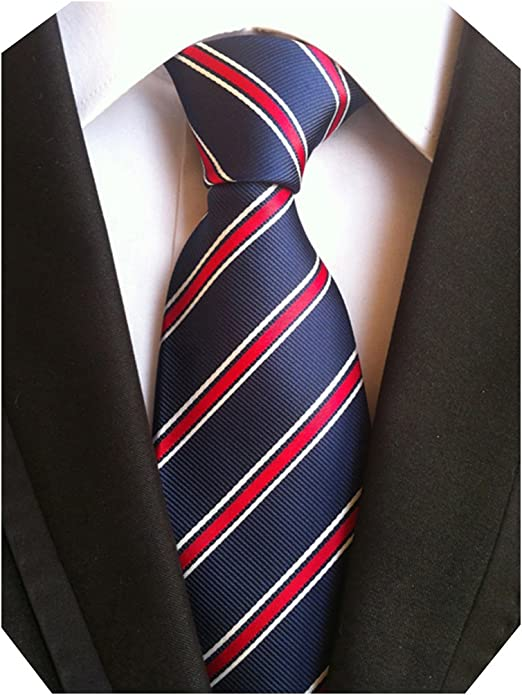 MINDENG Corbata de dos tonos con nudo azul marino y rayas blancas ...