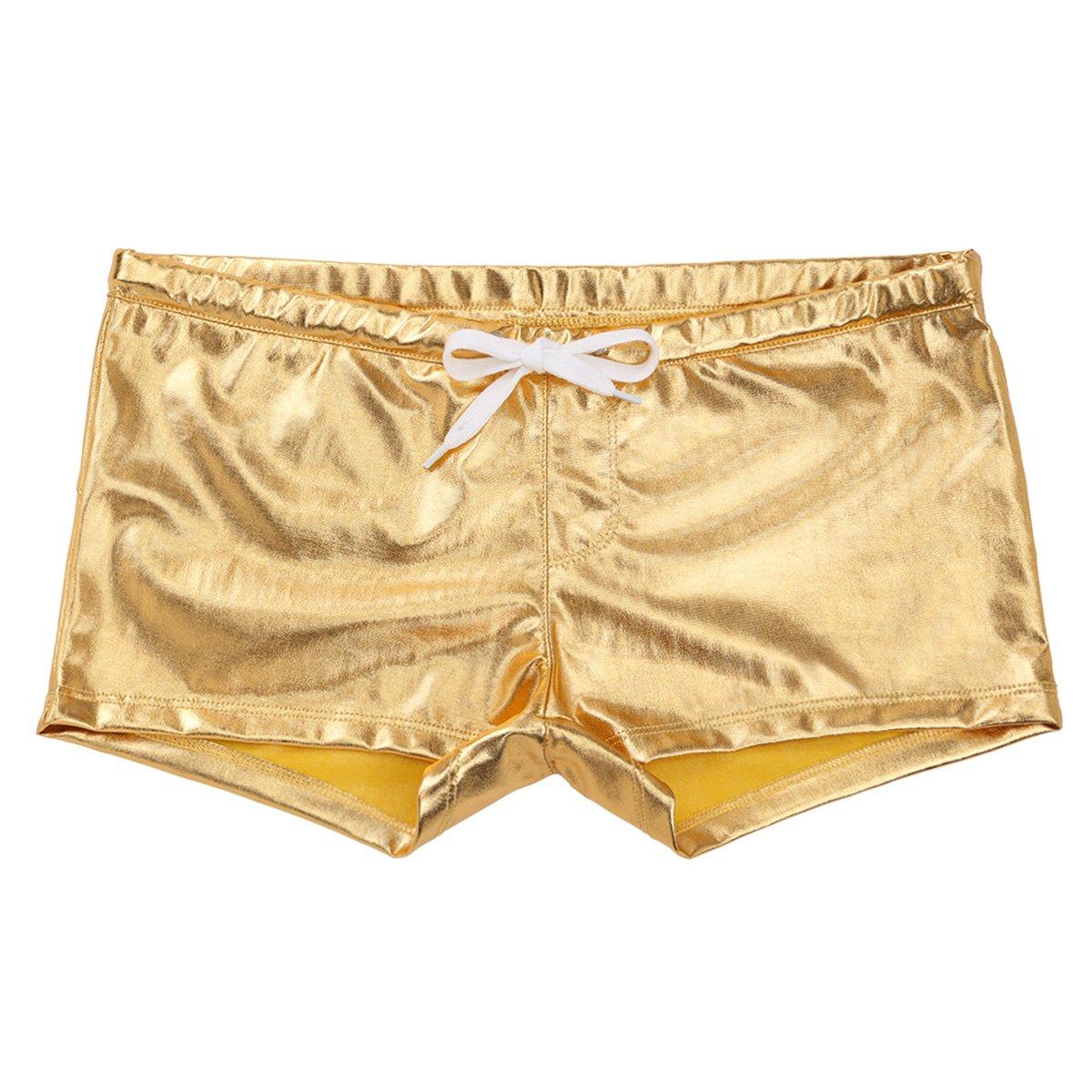 Freebily Men's Shiny Patent Leather Drawstring Lounge Underwear Boxer Shorts