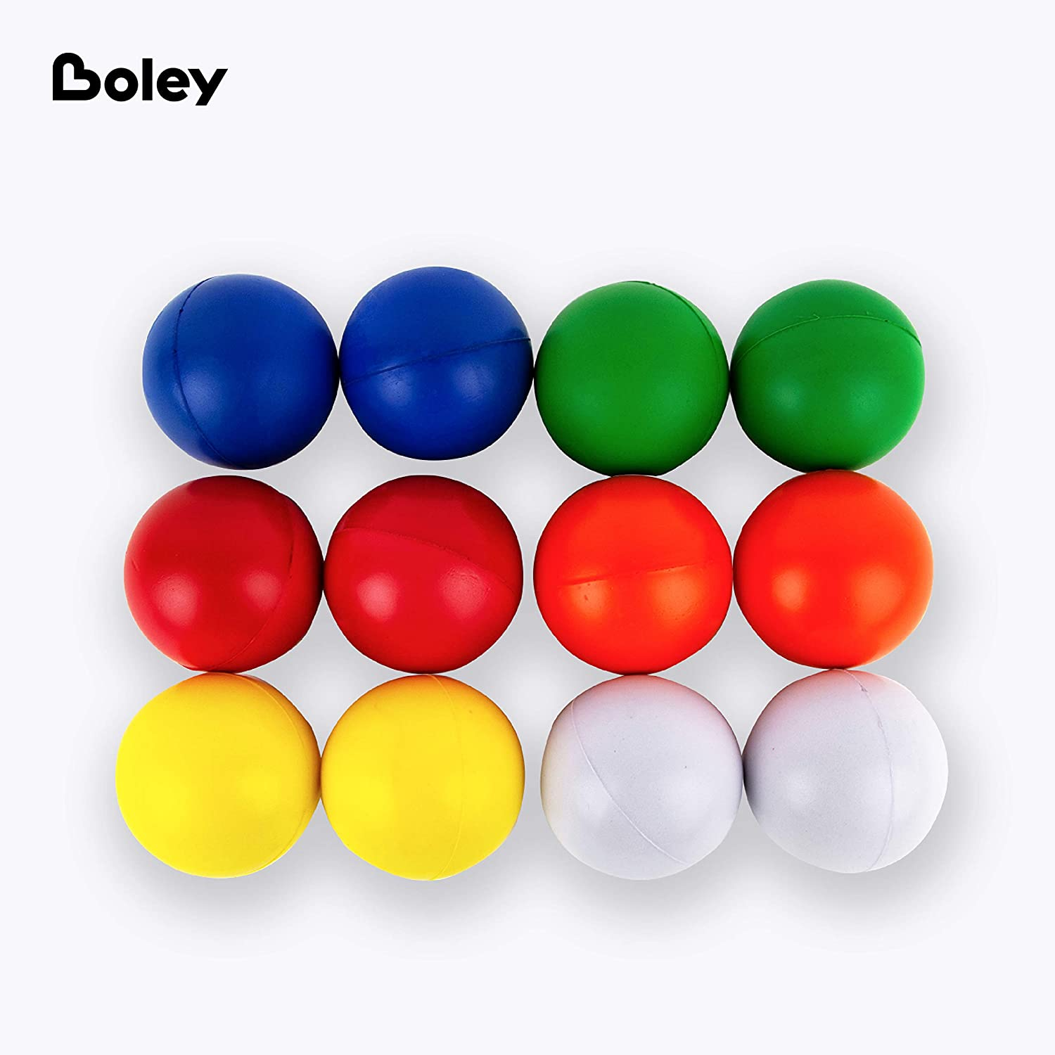 Boley Foam Stress Ball Set 12 Pack Small Stress Balls for Kids and Adults Squishy Squeeze Stretch Round Foam Fidget Balls in Bulk Anxiety ADHD Autism and Stress Relief Ball Set