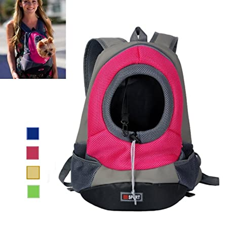 asialong Portable perro Front Carrier con malla cachorro Pack/cabeza fuera diseño/doble correas