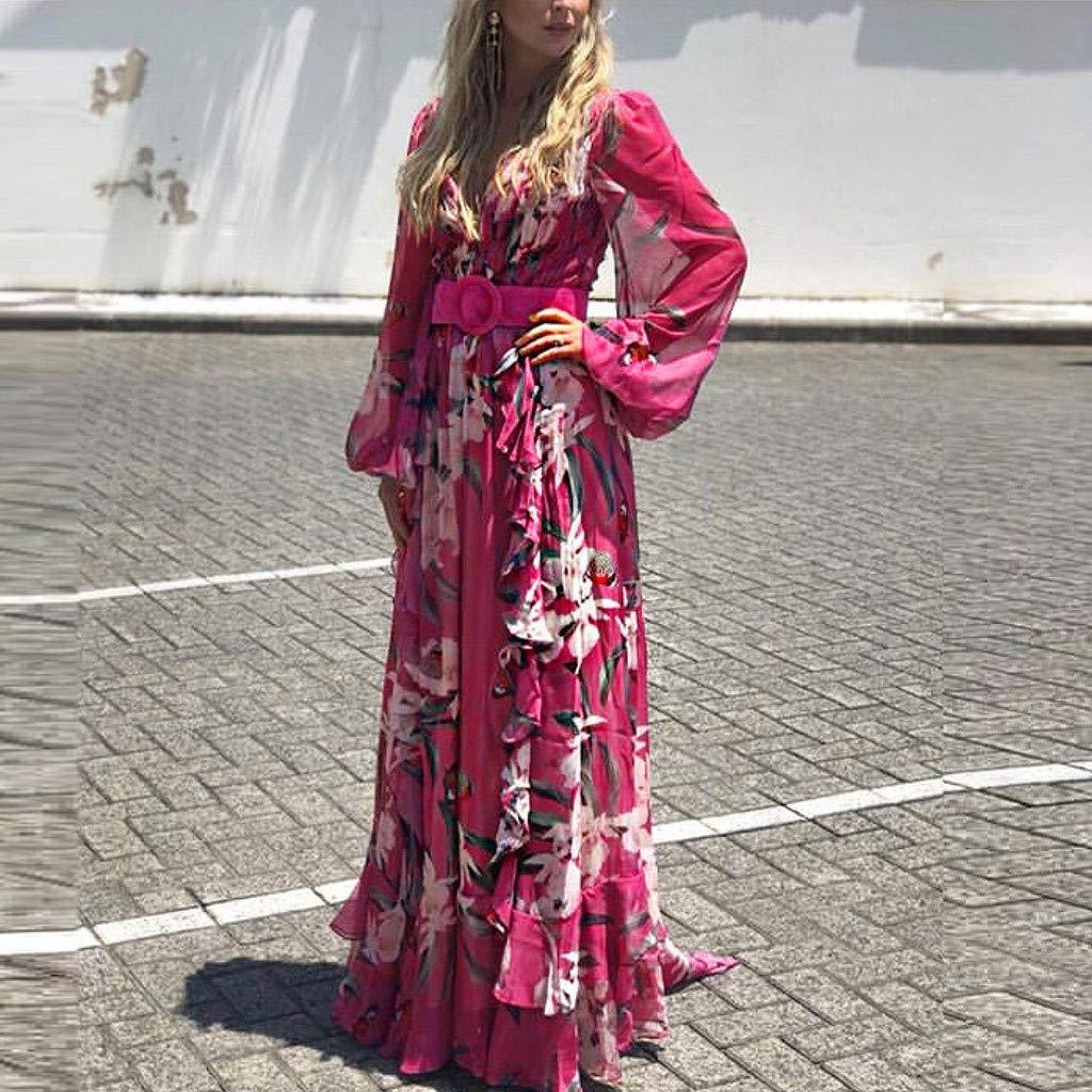 Ultramall Women Fashion Bohemian Floral Printed V Neck Long Sleeve Pleated Chiffon Dress(Hot Pink,M) by Ultramall (Image #3)