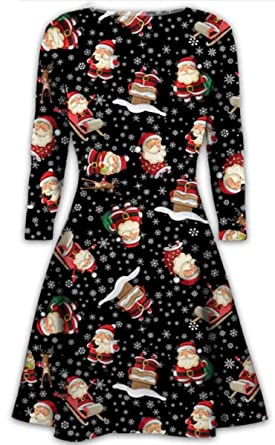 a6bbbce9178ce Womens Christmas Dresses Ladies Long Sleeve Olaf Santa Novelty Stocking Xmas  Swing Plus Size  Amazon.co.uk  Clothing