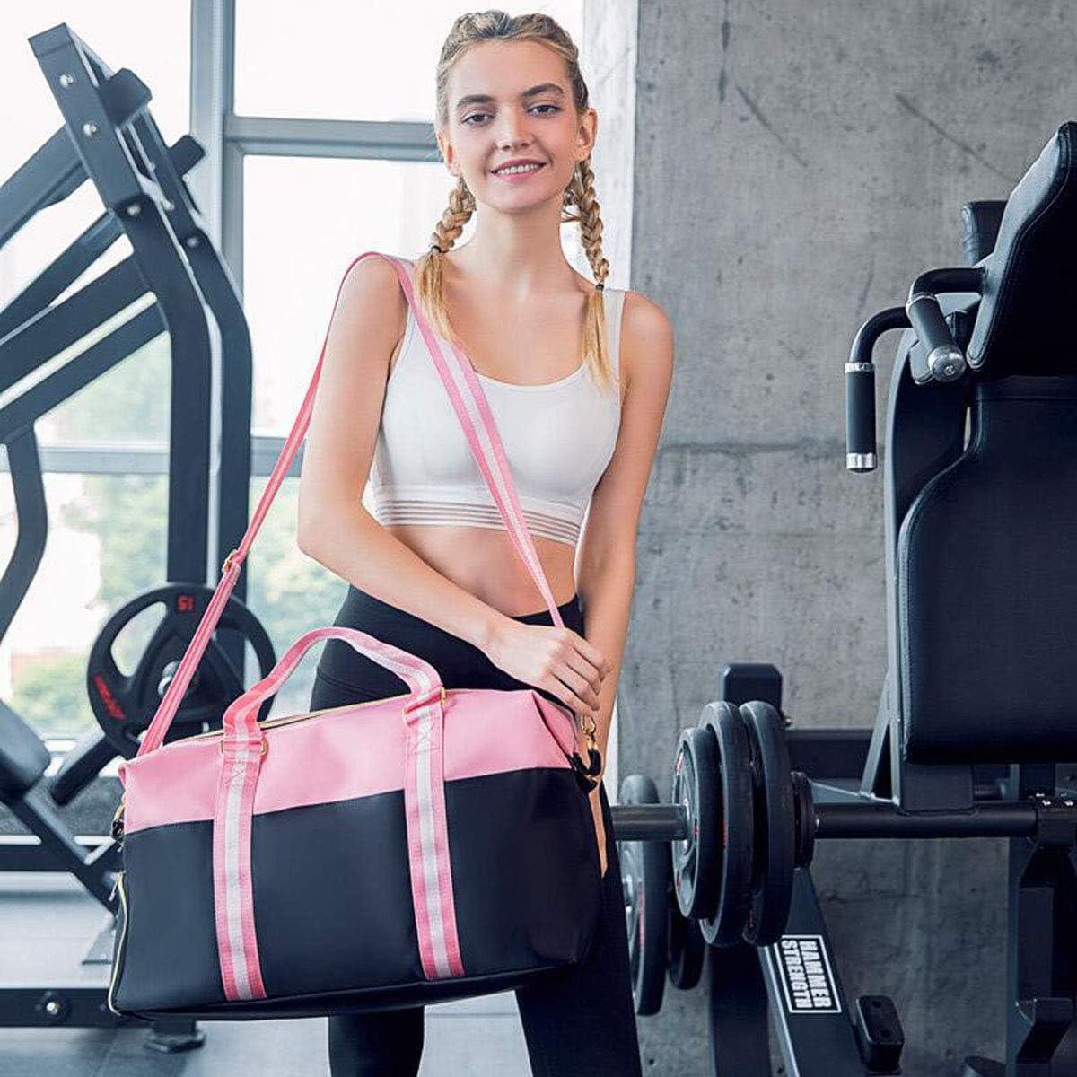 Shoulder Messenger Bag Short-Distance Travel Bag Kaiyitong Fitness Bag Independent Shoe Bag Color : Pink, Size : 166.411.2 inch Black and Pink