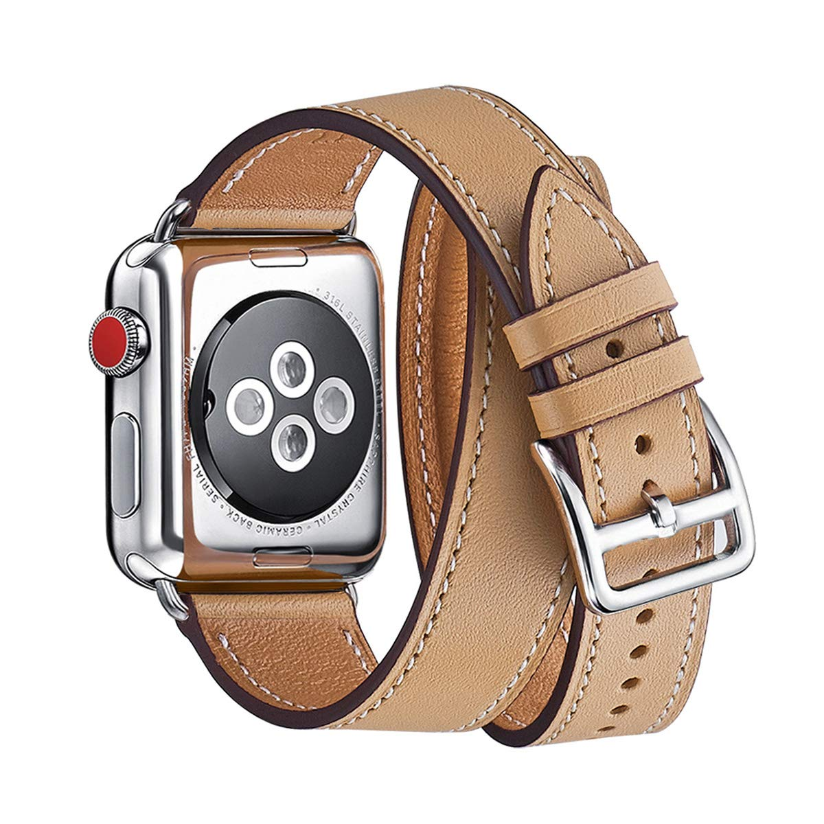 WFEAGL Compatible iWatch Band 42mm 44mm, Top Grain Leather Band with Gold Adapter (The Same as Series 4 with Gold Stainless Steel Case in Color) for iWatch Series 4/3/2/1 (Black Band+Gold Adapter, 42mm 44mm)