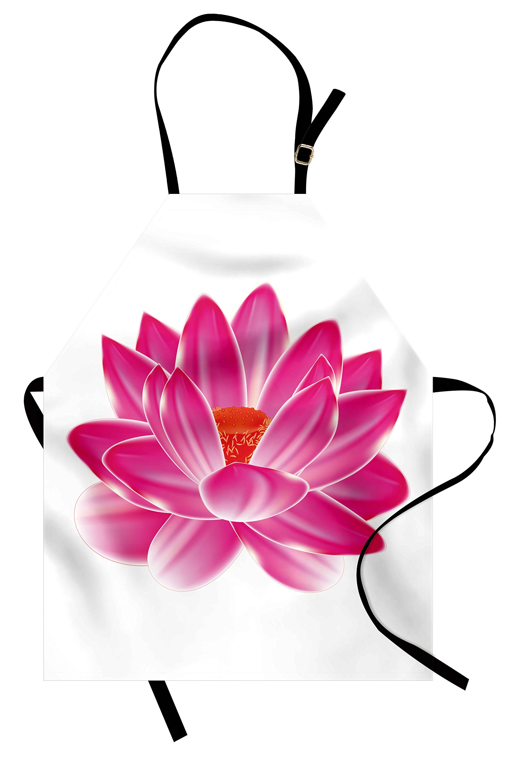 Lunarable Lotus Apron, Vibrant Lotus Flower Pattern Spa Zen Yoga Asian Balance Energy Lifestyle Artsy Image, Unisex Kitchen Bib Apron with Adjustable Neck for Cooking Baking Gardening, Magenta Red