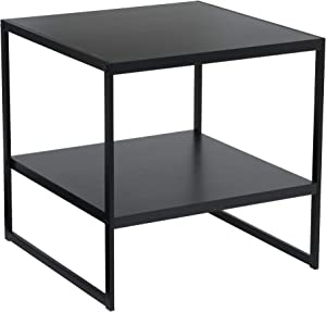 Household Essentials Square 2-Tier Black End Table,