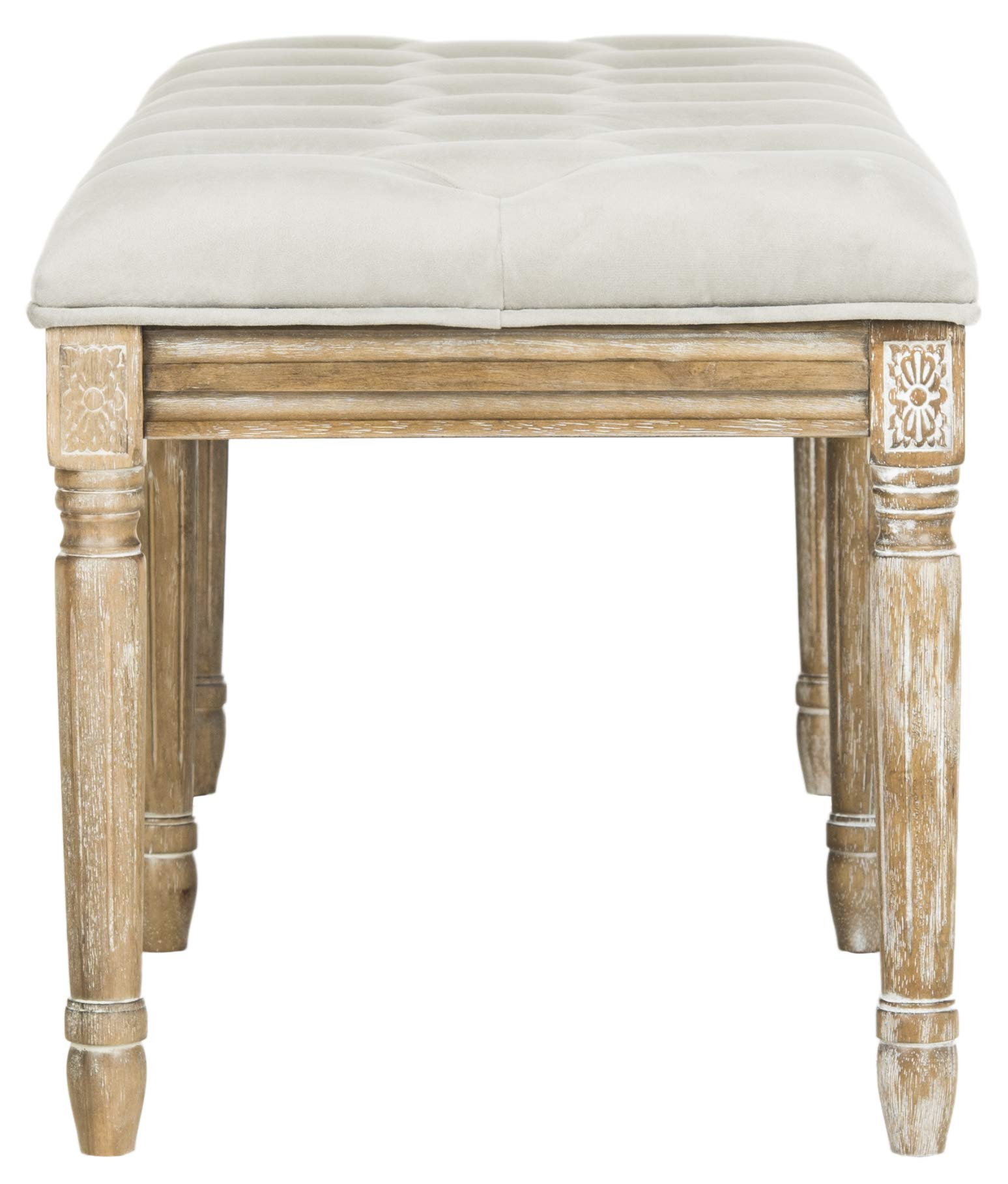 Safavieh Home Collection Rocha French Brasserie Tufted Grey and Rustic Oak 19-inch Wood Bench by Safavieh (Image #7)